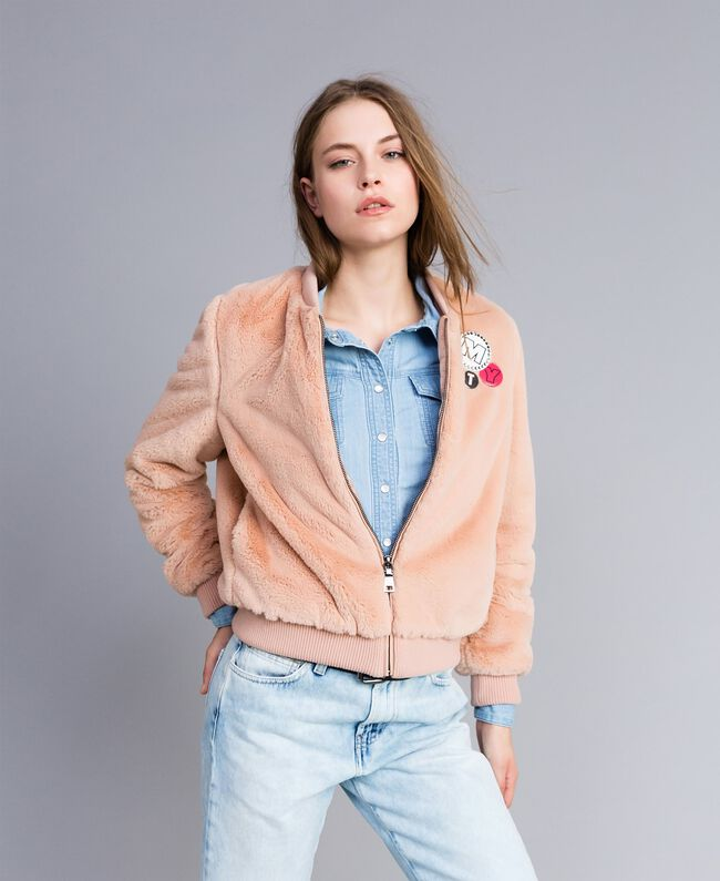 """Faux fur bomber jacket """"Nude"""" Beige Woman JA82KA-03"""