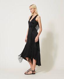 Sandales plates avec chatons et strass Noir Femme 211TCT044-0S