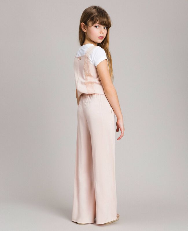 Flowing fabric and lace jumpsuit Blossom Pink Child 191GJ2431-03