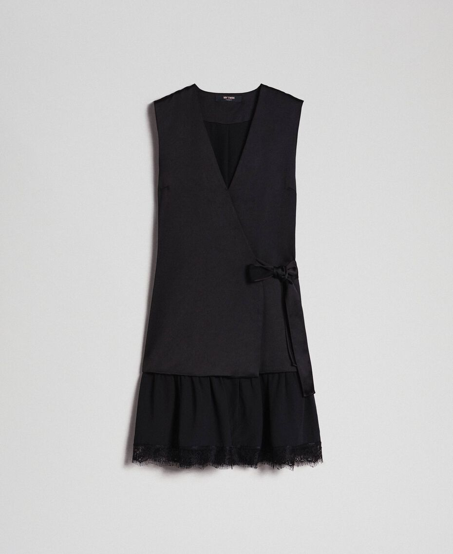 Bow dress with lace flounce Black Woman 192MP2351-0S