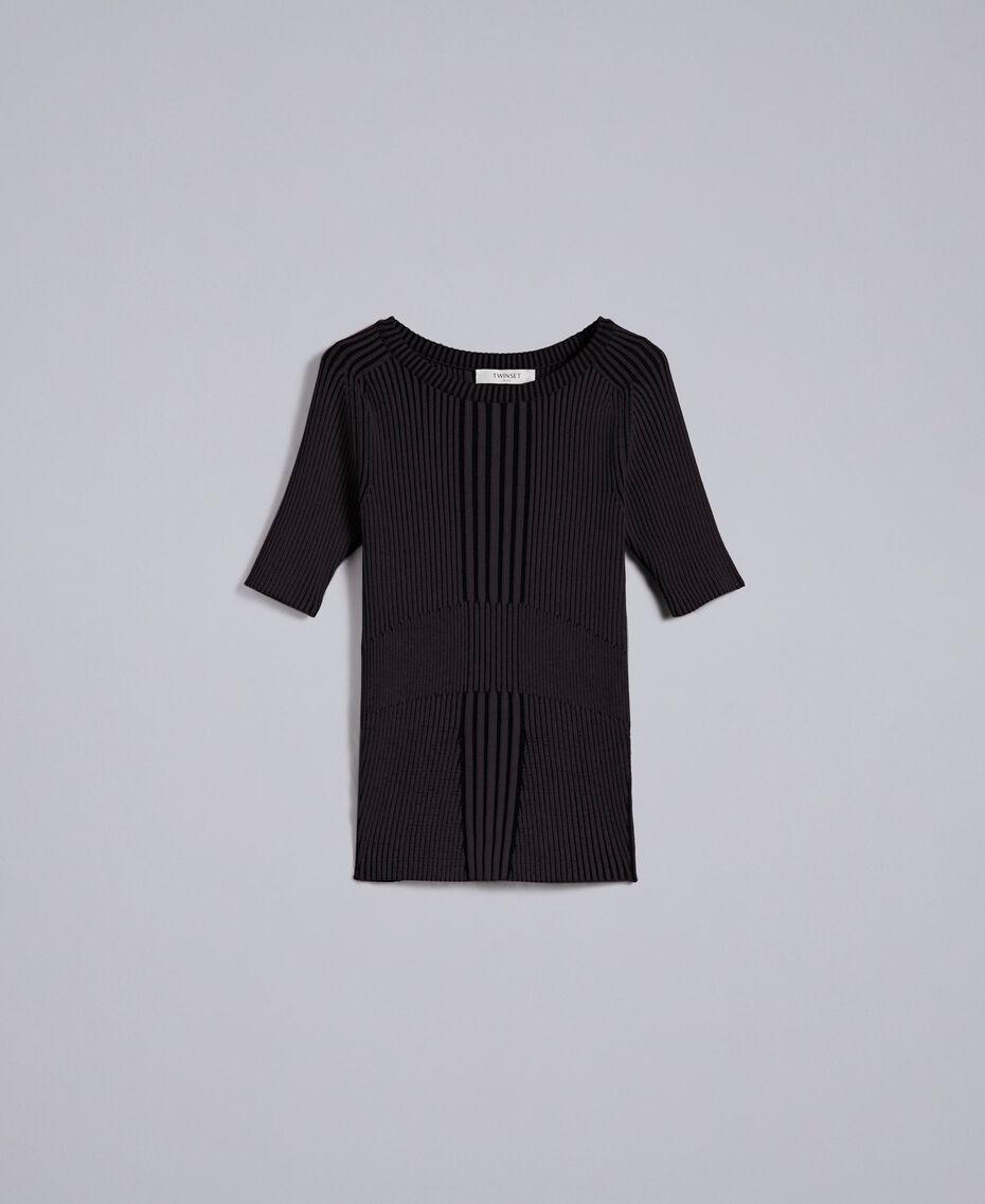 Pullover aus zweifarbiger Viskose Schwarz Frau QA8TBA-0S