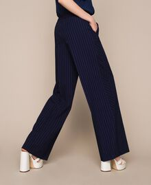 Pin stripe palazzo trousers Midnight Blue Pin Stripe Jacquard Woman 201ST2083-03