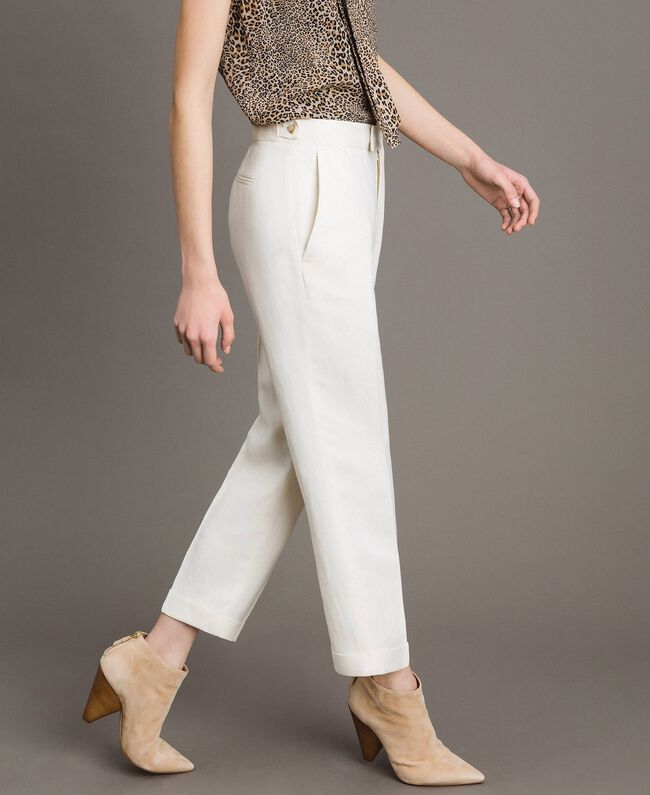 Linen blend cropped trousers White Snow Woman 191TP2202-03