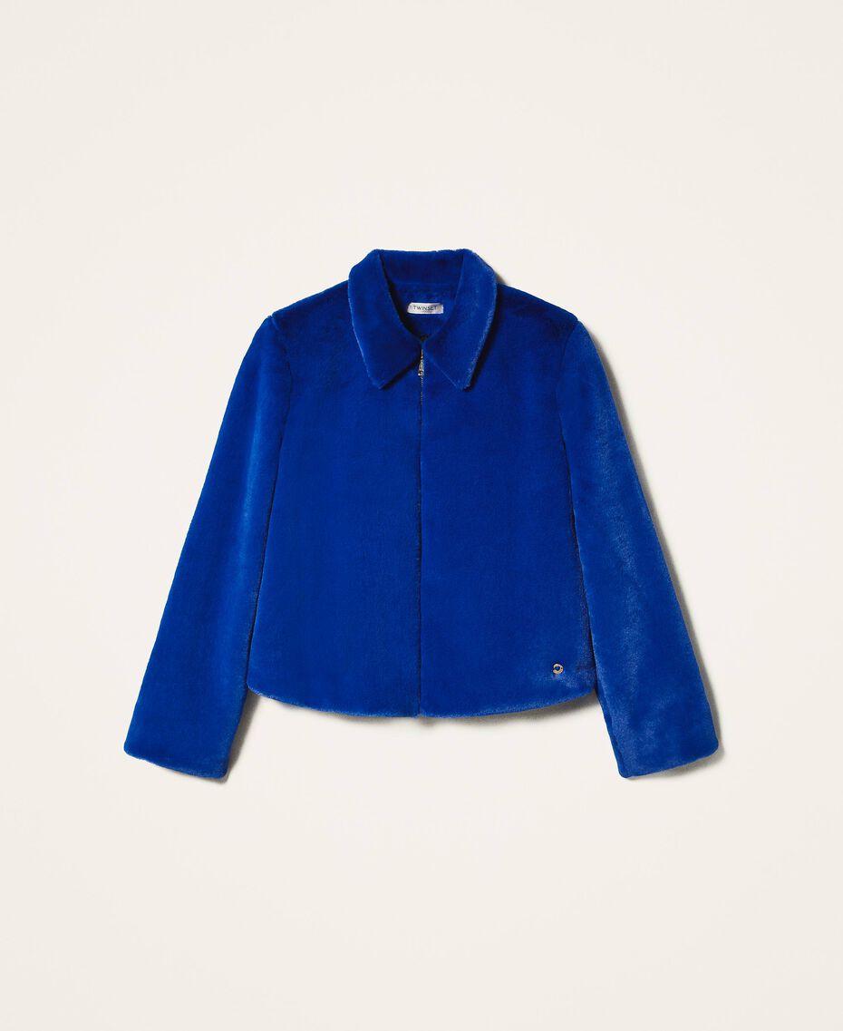 Куртка из искусственного меха Темно-васильковый Pебенок 202GJ281A-0S