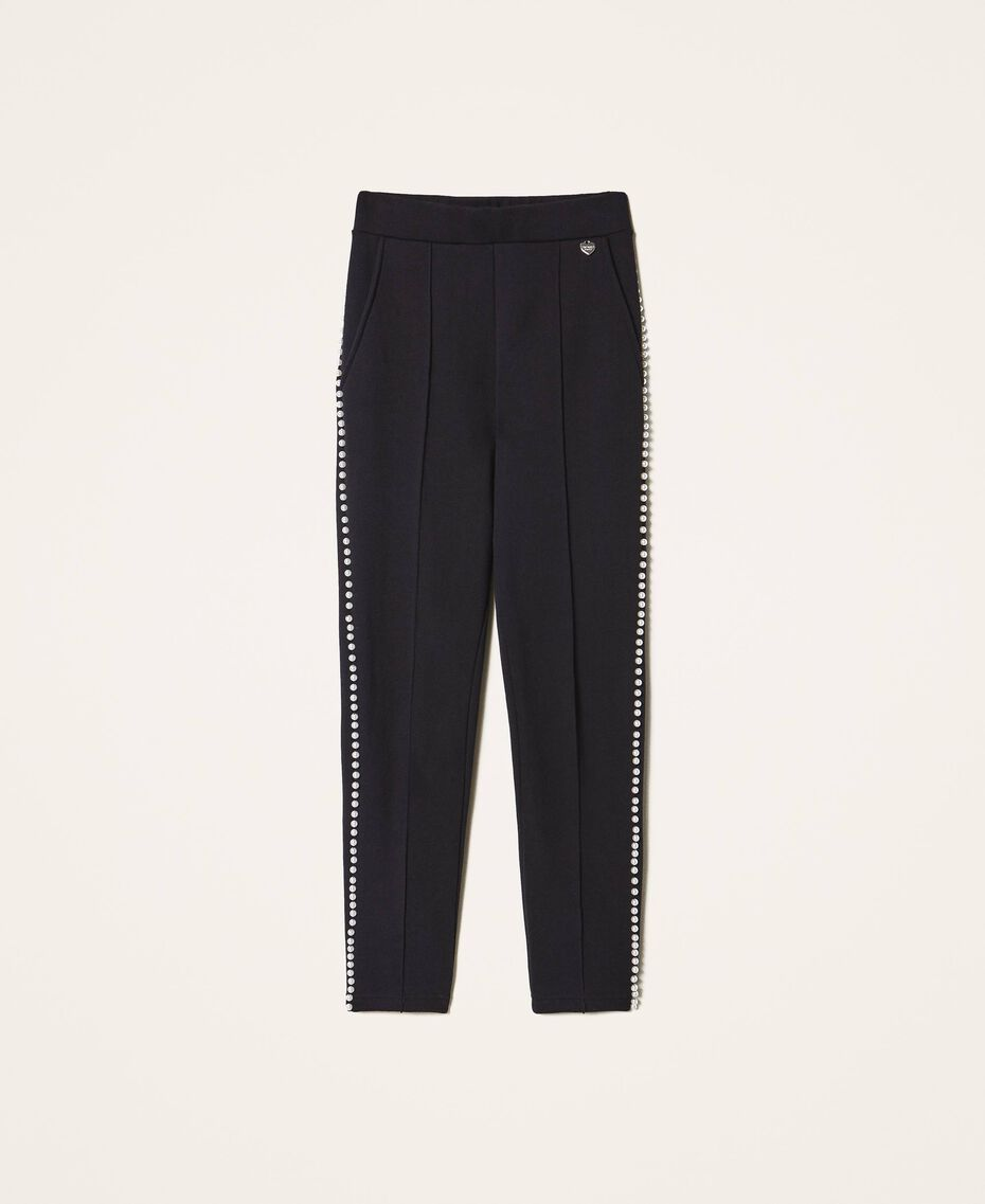 Trousers with pearl embroidery Black Woman 202TT2T52-0S
