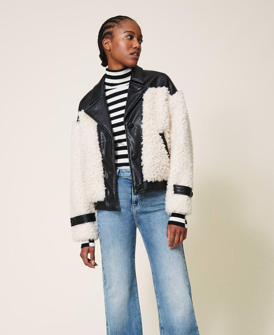 Faux fur bomber jacket Two-tone Black / Cloth White Woman 202MP2270-01