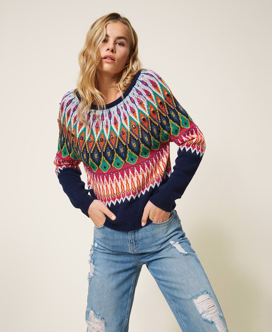 Multicolour jacquard jumper with embroidery Midnight Blue Woman 202MP3080-01