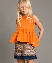Jeans-Shorts mit Einlagen Bouclé Jacquard / Dunkler Denim Kind 191GJ2021-02