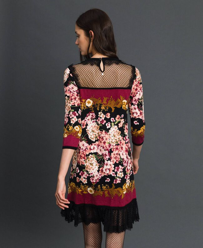 Dress with floral scarf print and lace Scarf Print Woman 192TP3361-04