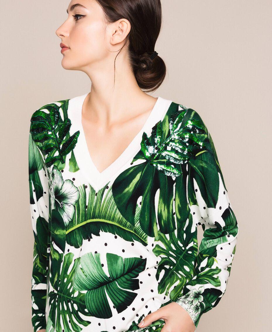 Длинная трикотажная кофта с принтом и отделкой пайетками Принт Тропический Горошек Зеленый женщина 201TP3263-01