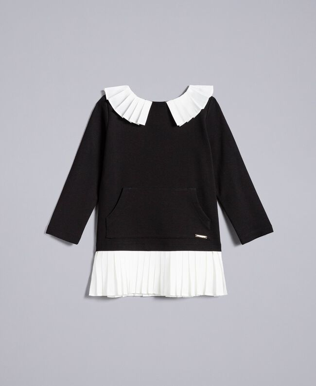 Robe en point de Milan Bicolore Noir / Blanc Cassé Enfant FA82FN-01
