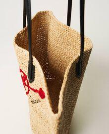 Сумка-шоппер из рафии с вышивкой Солома женщина 211LM7ZUU-05