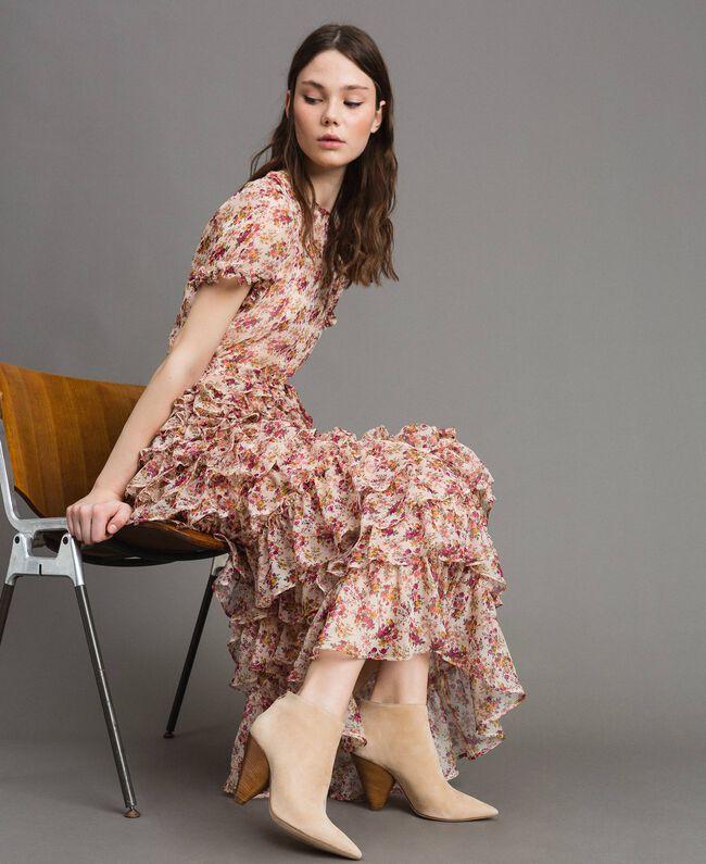 """Robe longue en georgette à imprimé floral Imprimé Bouquet Rose """"Bouton De Rose"""" Femme 191TP2574-01"""