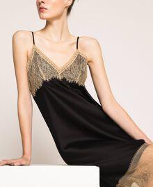 Robe nuisette en satin avec dentelle Bicolore Noir / Beige «Chanvre» Femme 201MP2131-04