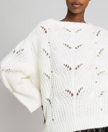 Openwork oversized jumper with studs Ivory Woman 192LL3HGG-05