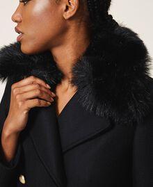 Manteau en drap de cachemire mélangé Noir Femme 202TT214A-06