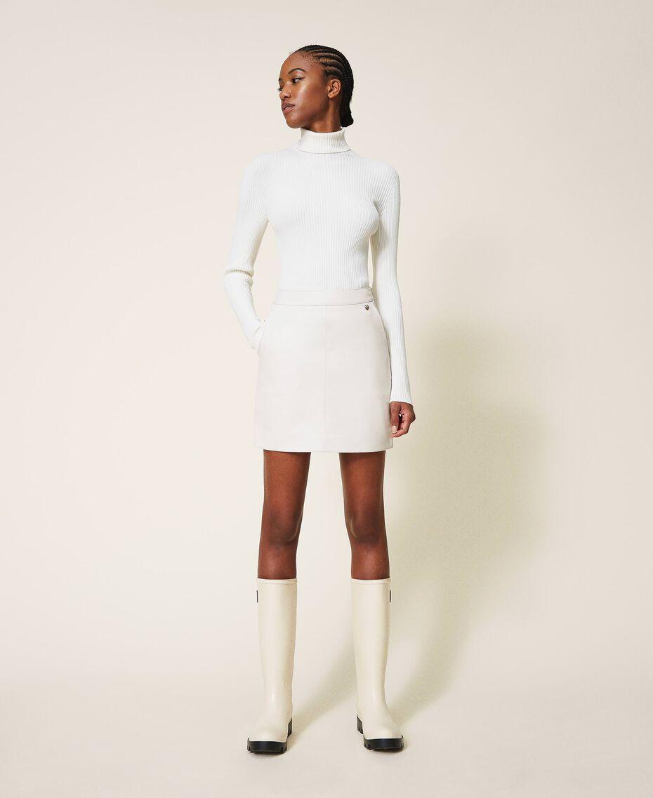 Faux leather mini skirt Creamy White Woman 202MP2093-02