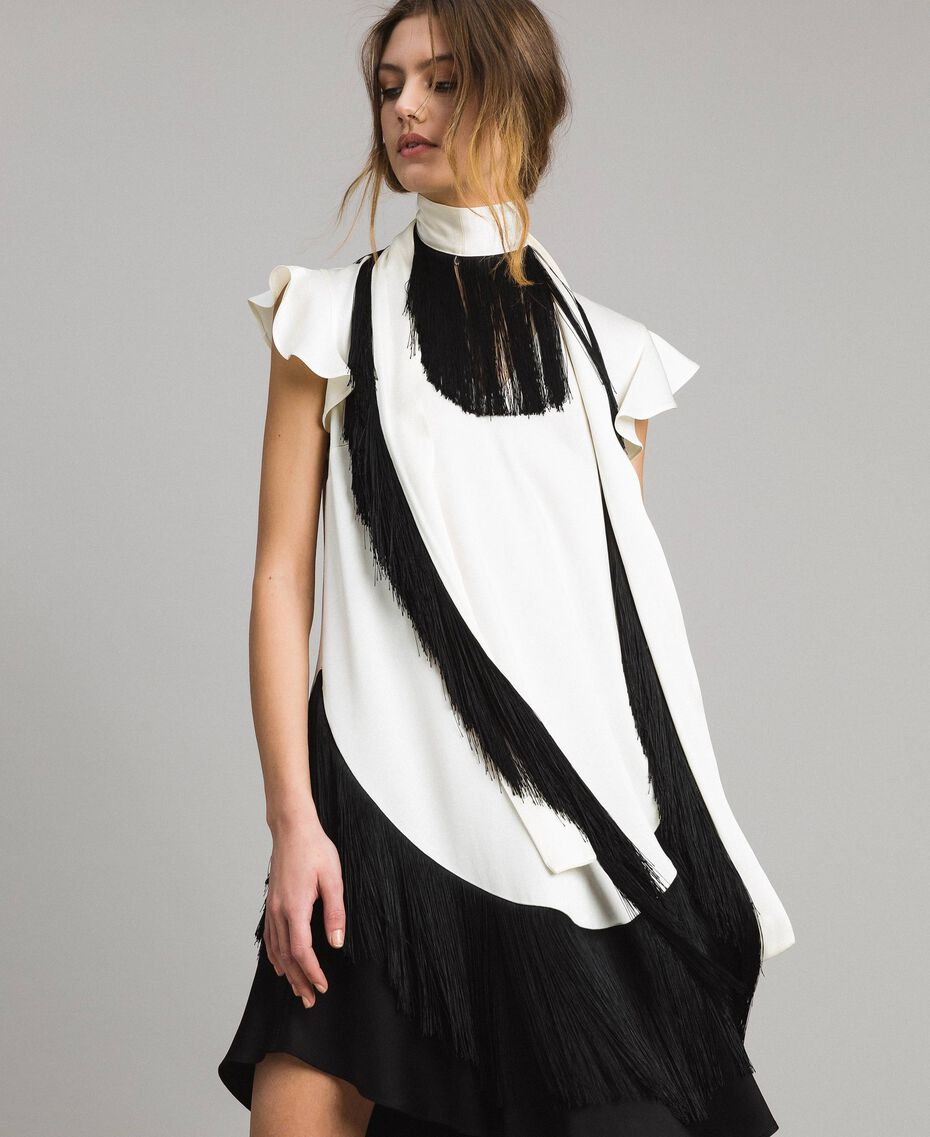 "Fringed belt dress Bicolour ""Snow"" White / Black Woman 191TT2381-01"