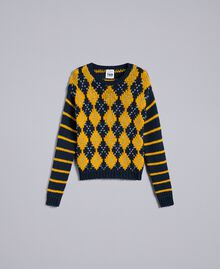 "Jumper with diamond pattern and stripes Multicolour Night Blue / ""Golden Yellow"" / Denim Blue Woman YA83L2-0S"