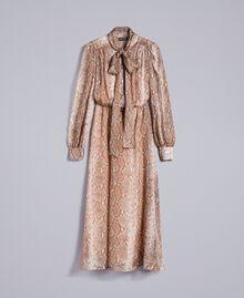 Long animal print chiffon silk dress Camel Snake Print Woman PA827B-0S