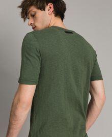 """T-shirt en coton mélangé flammé Vert """"Cactus"""" Homme 191UT3071-03"""
