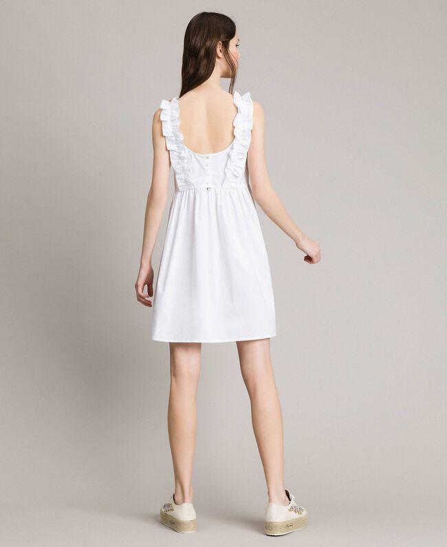 Robe en popeline agrémentée de ruchés et d'une broche Blanc Femme 191MT2050-04