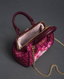 Printed faux leather mini bowler bag Beet Red Butterfly Floral Print Woman 192TA7018-05