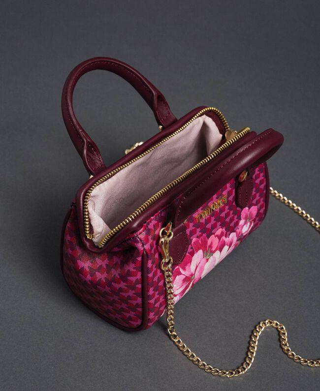 Mini sac bowling en similicuir imprimé Imprimé Fleurs Papillon Rouge Betterave Femme 192TA7018-05
