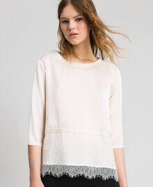 Soft satin blouse with lace flounce Black Woman 192MP2133-02