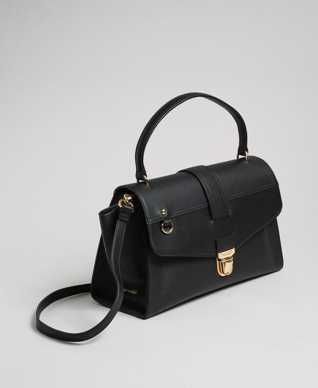 Faux leather satchel bag with flap Black Woman 192TA7130-01