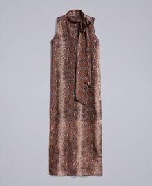 Robe longue en mousseline de soie animalière Imprimé Chocolat Serpent Femme PA829C-0S