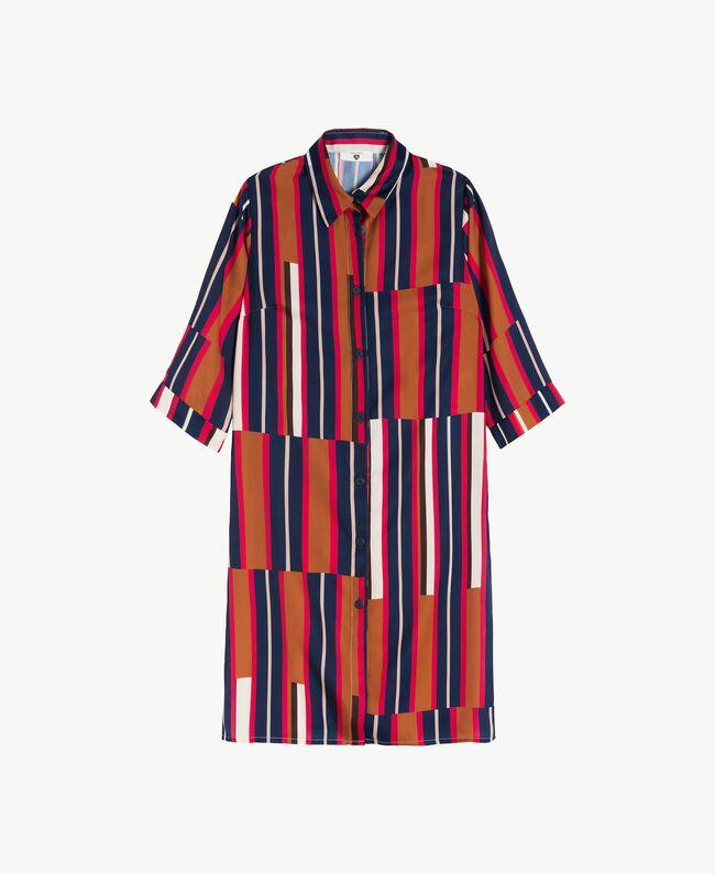"""Printed nightdress Tobacco Stripe / """"Love Bites"""" Fuchsia Female IA7RNN-01"""