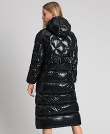 Long quilted padded jacket with real down Black Woman 192TP2501-04