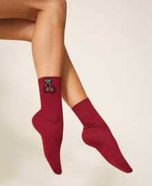 Socks with rhinestone patch Black Woman 202TO514D-0S
