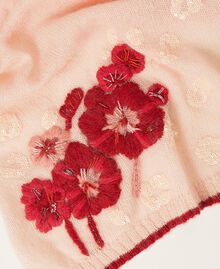 Knit scarf with flowers and sequins Peach Woman 202TA4411-02