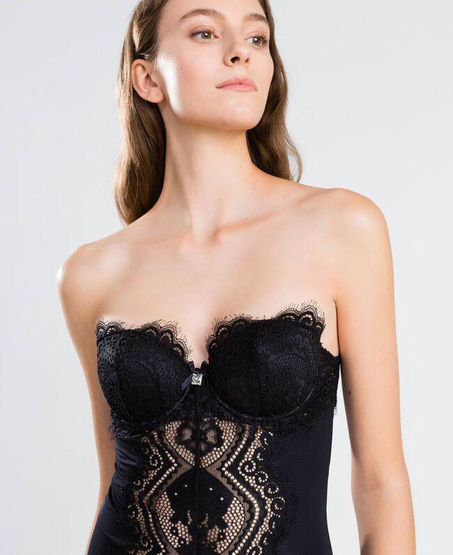 Body en tulle et dentelle festonnée Noir Femme IA8C00-04