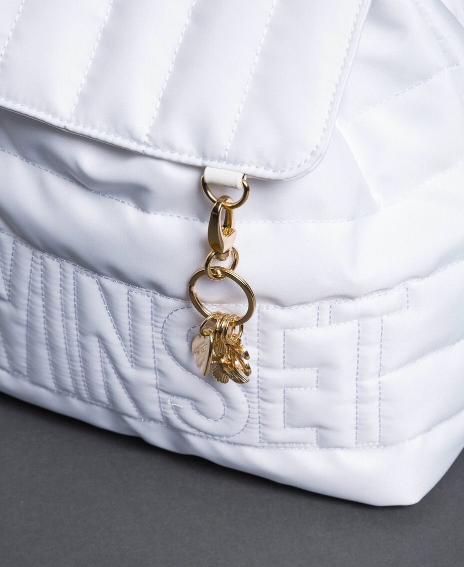 Quilted backpack with charms and logo White Snow Woman 192TO8062-03