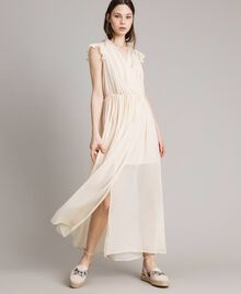 """Robe longue en crépon Beige """"Voie Lactée"""" Femme 191LB21HH-01"""