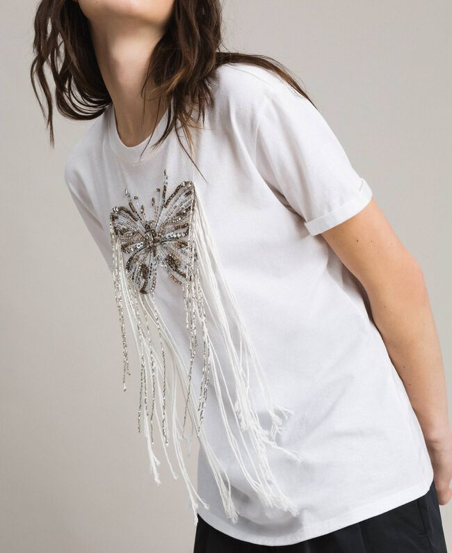 Butterfly embroidery and fringe T-shirt White Woman 191TP2600-03