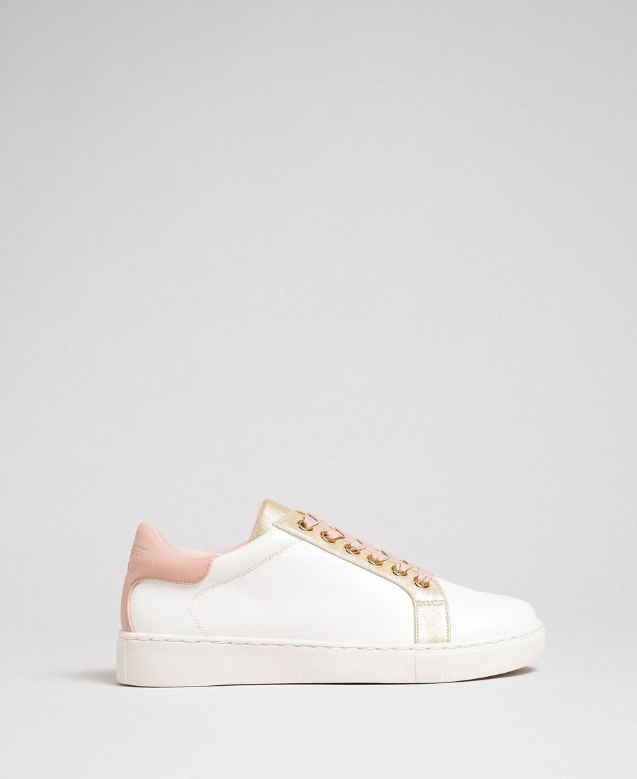 Sneakers in similpelle con lacci in raso Avorio Donna 192LIPZCC-03