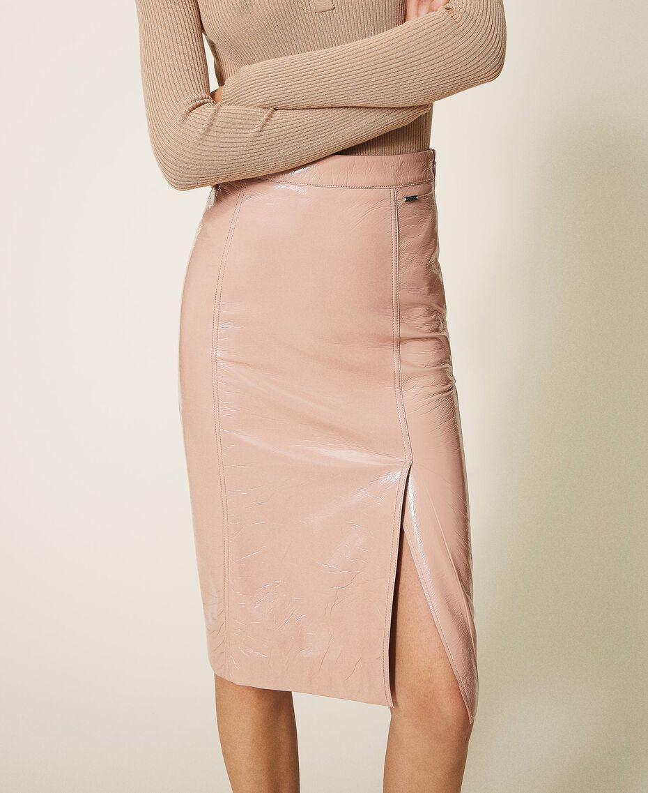 """Faux patent leather skirt """"Nude"""" Beige Woman 202ST2042-01"""