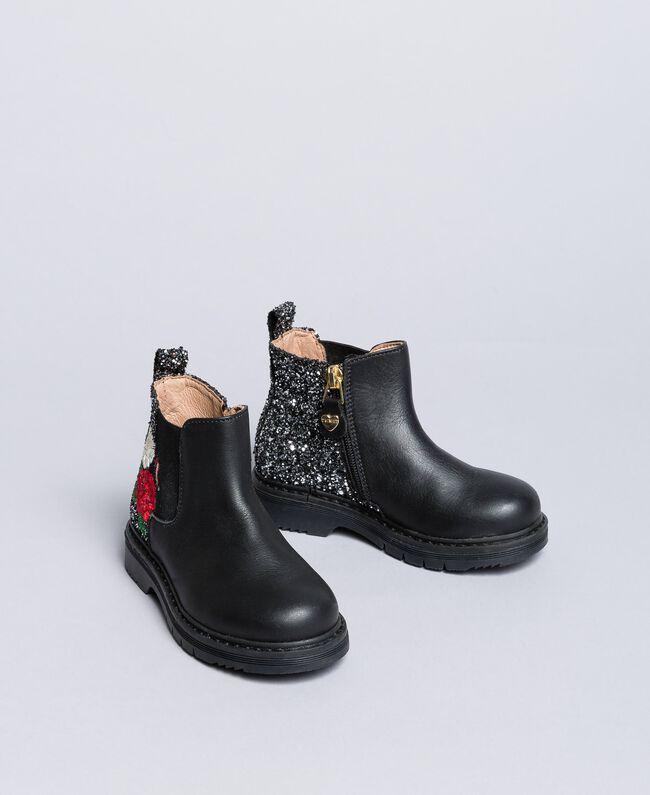 Embroidered leather beatles Bicolour Black / Silver Glitter Child HA86C1-01