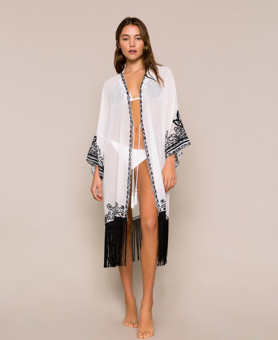Georgette dress with embroideries and fringes Ivory Woman 201LB25AA-01