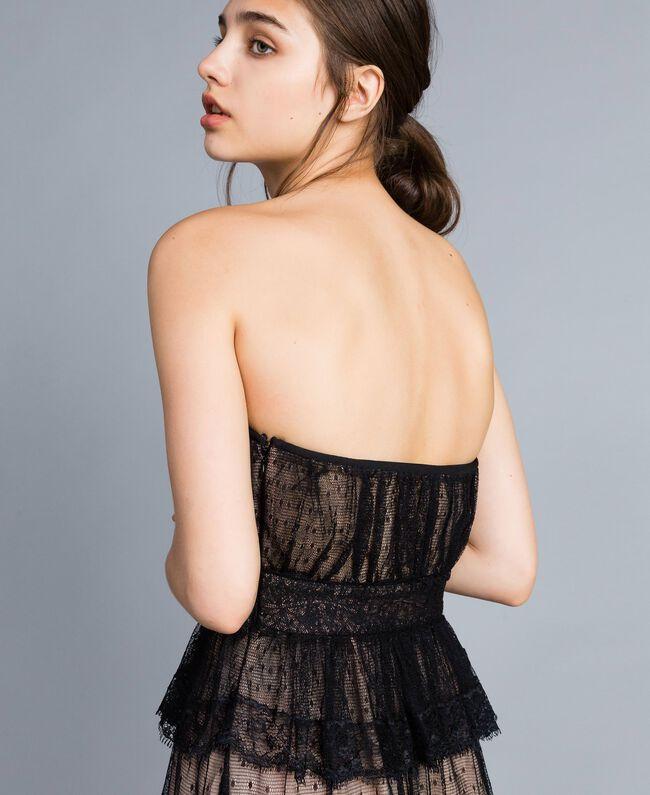 Robe longue bustier en tulle plumetis et dentelle Noir Femme TA82XC-04