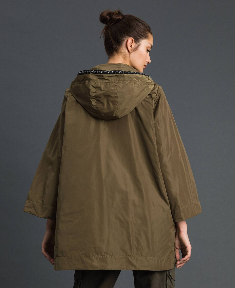 """Taffeta padded parka coat """"Military"""" Green with Gold Sequins Woman 192TP2490-03"""
