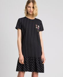 Pinstripe dress with flounce Black / Lily Pinstripe Woman 192MP2062-01
