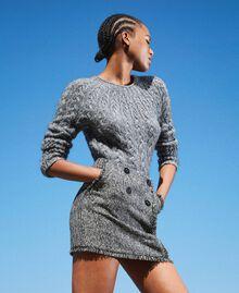 Mini-jupe en tissu bouclé avec sequins Noir Femme 202MT218B-03