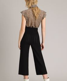 Cropped knit trousers with lurex stripes Black Woman 191TP3251-03