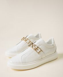 "Trainers with logo ""Snow"" White Crocodile Print Woman 202TCP034-02"