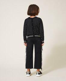 "Printed jumper-cardigan with rhinestones Black / ""Snow"" White Star Print Child 202GJ3640-05"